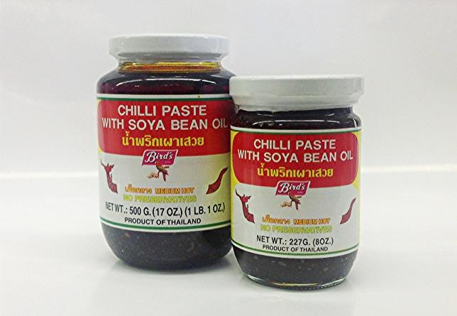 Chilli Paste w/ Soya Bean   Oil น้ำพริกเผา    Bird's   CH11255 24x17 oz  CH11260 24x8 oz