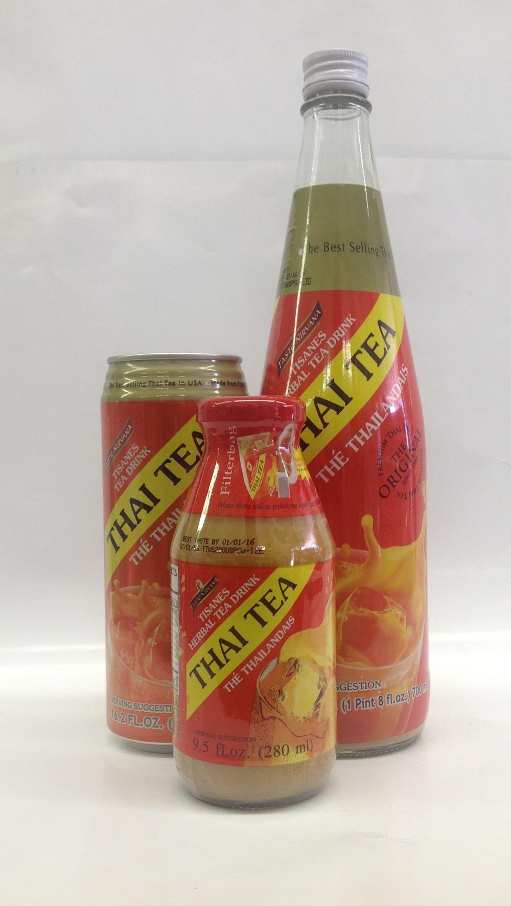 Thai Tea w/ Cream   Taste Nirvana   DK17601 24x10.5 oz (Can)  DK17604 12x25 oz (Bottle)  DK17605 24x9.5 oz (Bottle)  DK17607 24x17.6 oz (Tall Can)