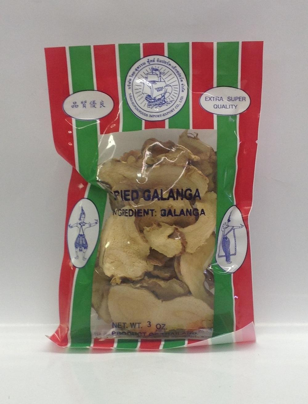 Dried Galanga, Sliced   Sumpao Boat   DRV2706 100x3 oz