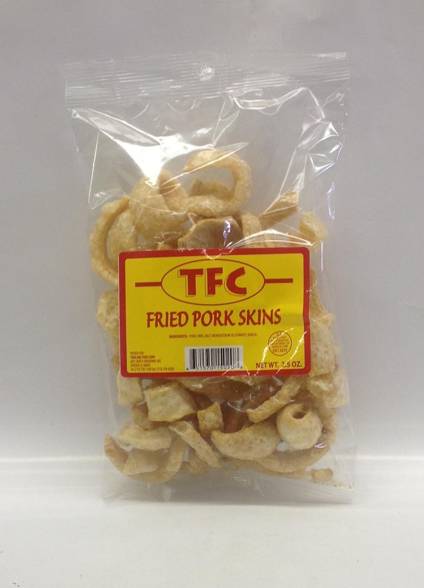 Fried Pork Skin   TFC   FR16100 50x3 oz (hot)  FR16105 50x3 oz (Reg.)  FR16106 50x3 oz (Strip)