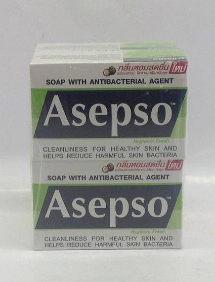 Asepso Soap (Green) w/ Mangosteeen   Thai   SOA1110A 18x4x80 g