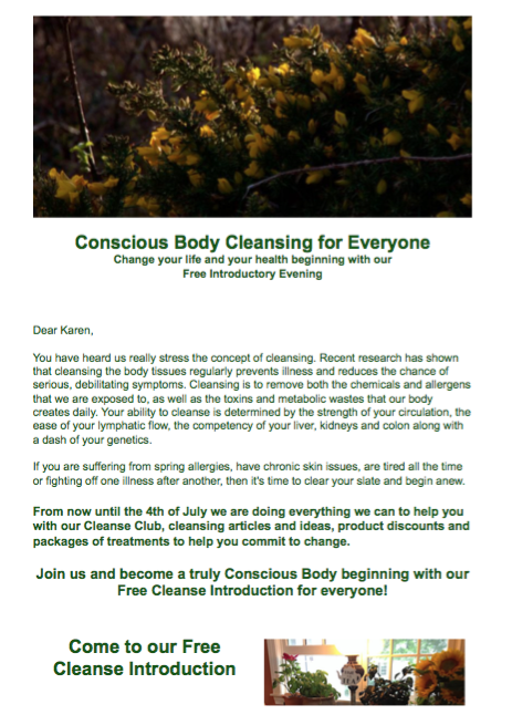 Spring Cleanse Newsletter May 2016