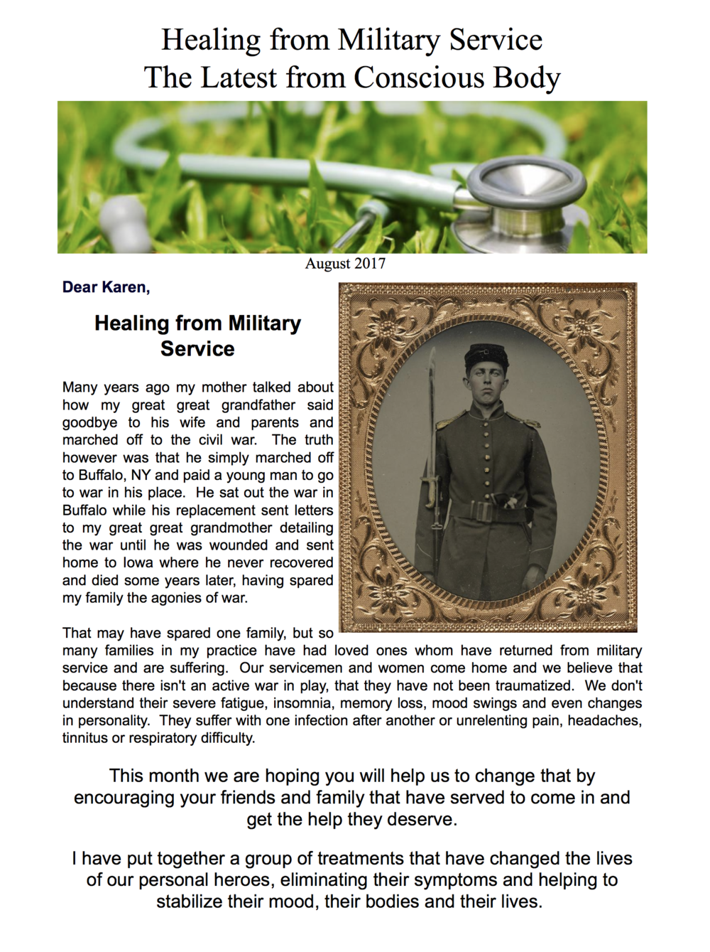 Healing Our Military Newsletter August 2017
