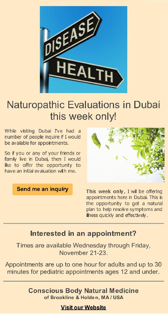 Naturopathic Evaluations in Dubai Announcement