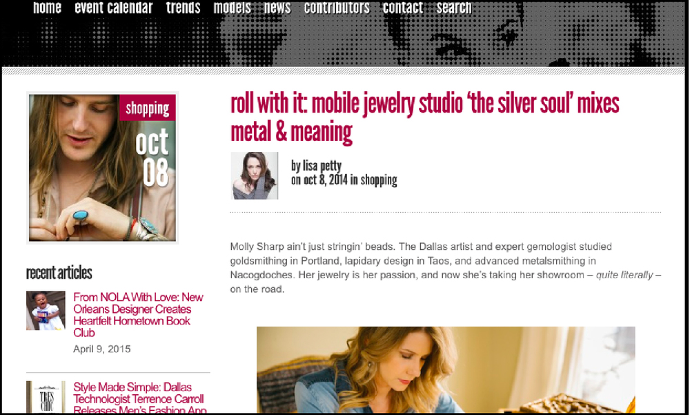 DFW Style Daily |  Roll With It: Mobile Jewelry Studio Mixes Metal & Meaning
