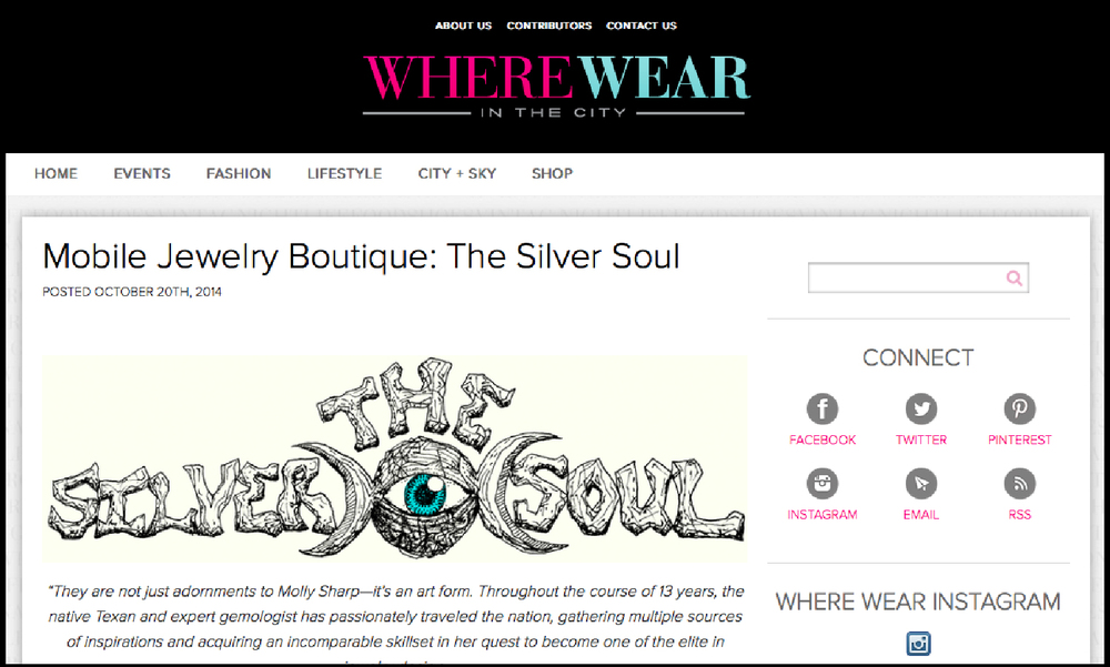 Where Wear In the City |  Mobile Jewelry Boutique: The Silver Soul
