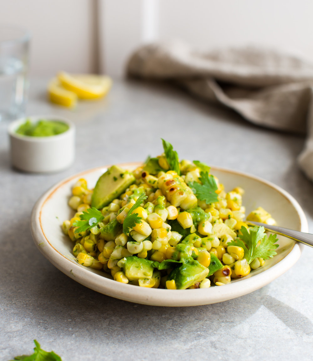Avocado-Cilantro-Dressing-with-Grilled-Corn | www.8thandlake.com