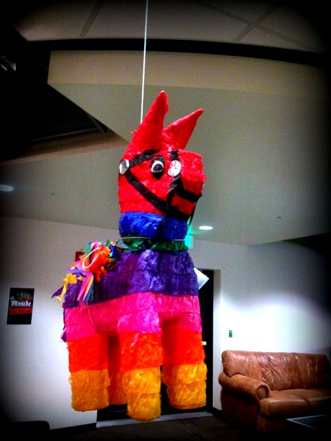 Team launch party - the pinata is going to get it!
