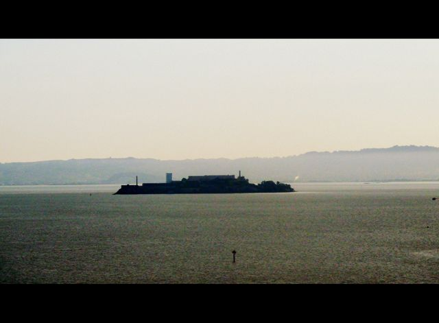 Alcatraz as I saw it from the window of the coach as we crossed the Golden Gate Bridge