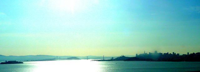 Picture from the coach - looking back over the City as we cross the Golden Gate Bridge