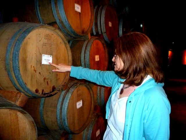 Elaine checking the barrels for leaks!