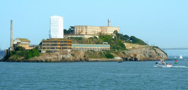 Alcatraz as we pass by - looks like it's having some repairs