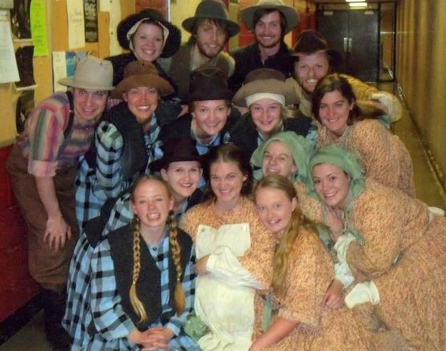 Joe (back row) at college with the cast of a play called Two Headed about the American Pioneers