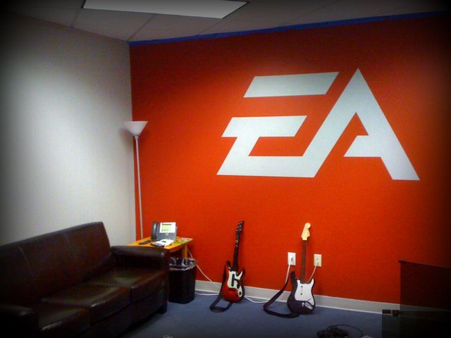 At EA North Carolina, they've painted an EA logo on the wall I painted red