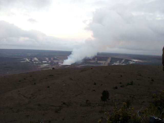 As night begins to fall we view the crater from the lookout center