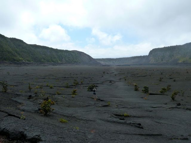 Remember that lava lake at Kilaeua? Before we catch our flight on our last day we decide to hike across it