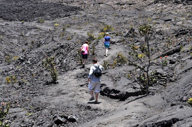 Off we go across the lava field