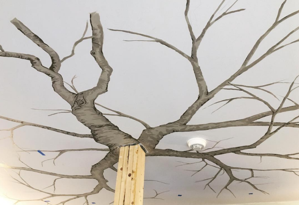 First step was to draw the branches of our tree on the ceiling.
