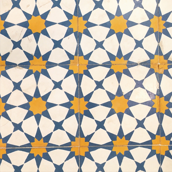 Fabulous tile in a Brooklyn house being used as a location for a TV show for which  I'm painting sets.