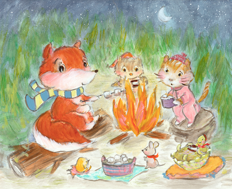 I revised this campfire scene a little bit. Can fox be trusted? I hope so! 'More S'mores' is available as a print in  my Society6 shop  :)