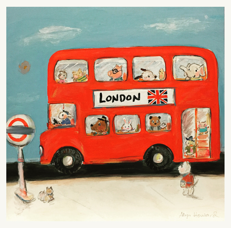 Last week, I reworked this painting a little. My 1st visit to London was when I was about 4 years old and I fell in love with those iconic red double deckers!