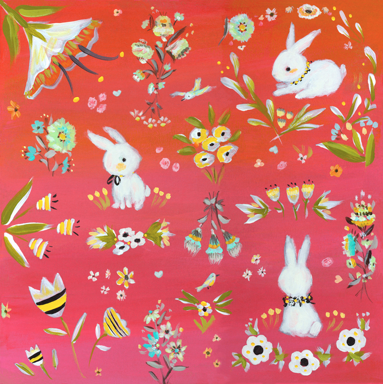 Bunnies_garden_red_Allyn_Howard