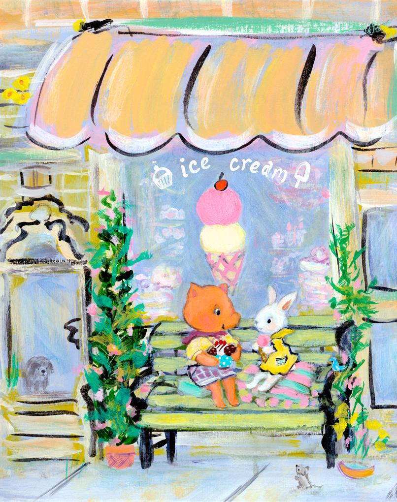 Allyn_Howard_Ice-Cream_friends_pig_bunny.jpg