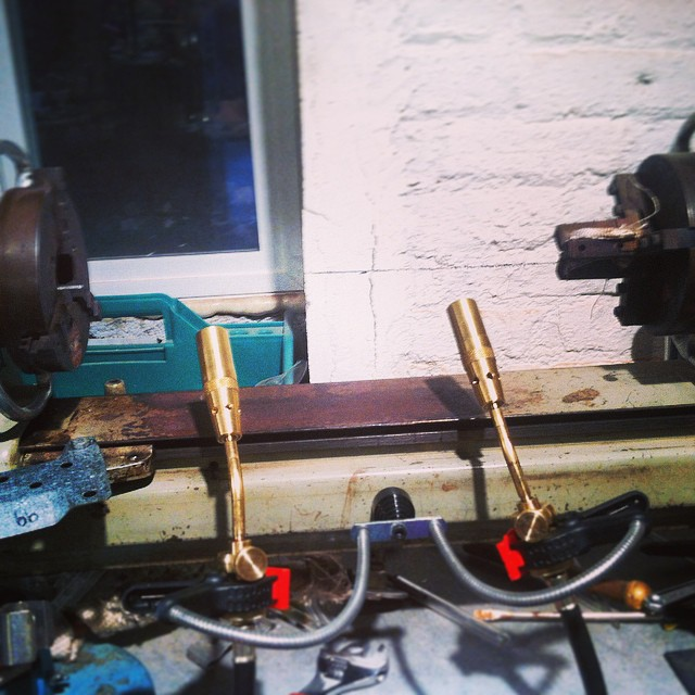 Getting some more firepower hooked up on my little lathe.  #keepithot #hotheadbunsen #doubletrouble