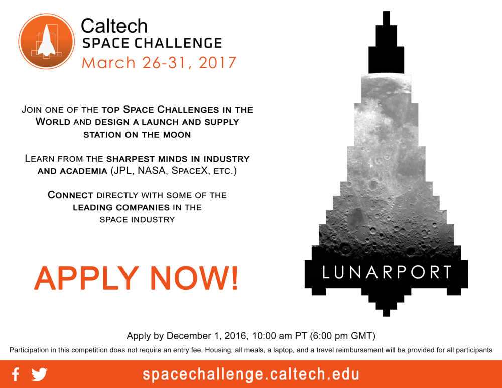 Poster for the 2017 Caltech Space Challenge