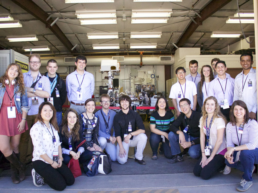 Team Voyager in front of the Curiosity Rover