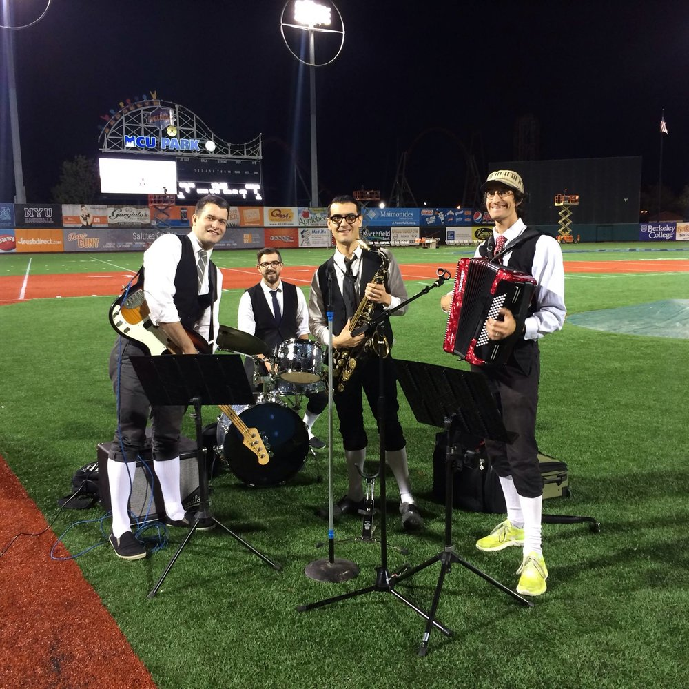 """Oh say can you see"" The Polka Brother's performing the national anthem at MCU Park, Coney Island?"