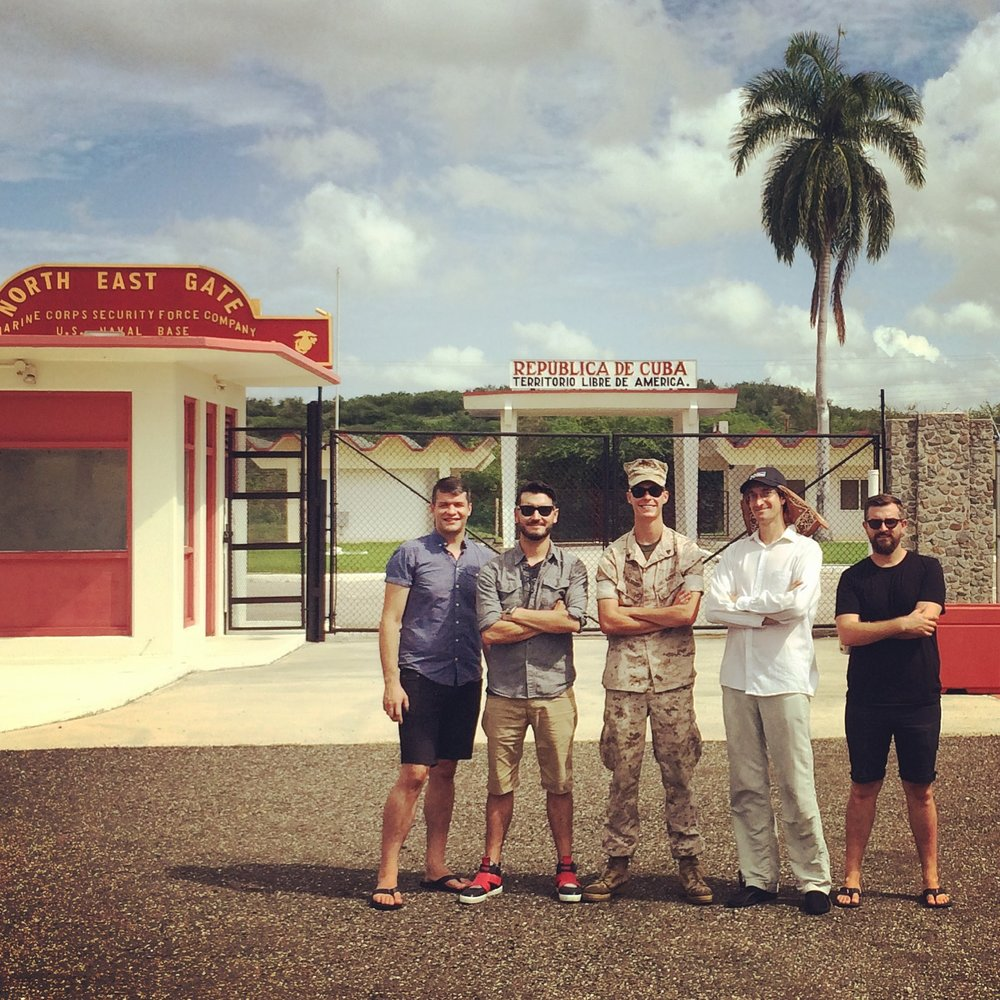 "The Bros ""guarding"" the North East Gate in Cuba, the morning after our show."