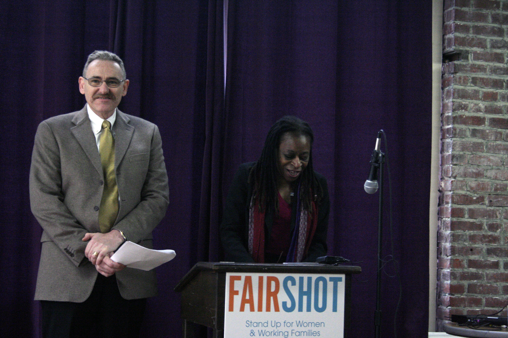 Oregon AFL-CIO President Tom Chamberlain speaking at the launch of the Fair Shot For All Coalition along with former Director of Advocacy and Public Policy at Urban League of Portland, Midge Purcell.
