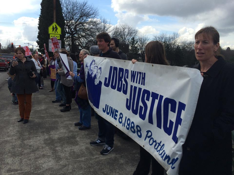 Jobs with Justice rallying in Portland with Fair Shot For All.