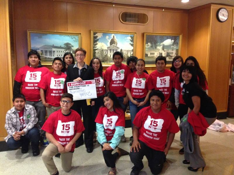 Speaker Kotek and students from PCUN at the minimum wage public hearing in April.