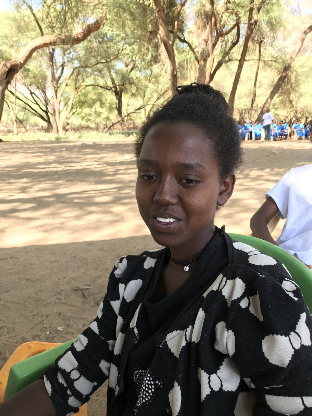Veronica - Veronica lives with her parents, two brother and four sisters. She is grateful to be one of three educated children in her family. Veronica attends Chogoria Girls Secondary School in Meru County. She shared what she learned in the workshop with others, wanting them to know about drug use, FGM and the importance of education.