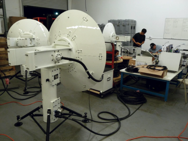 Portable PD 300 antenna systems undergoing final assembly and testing.