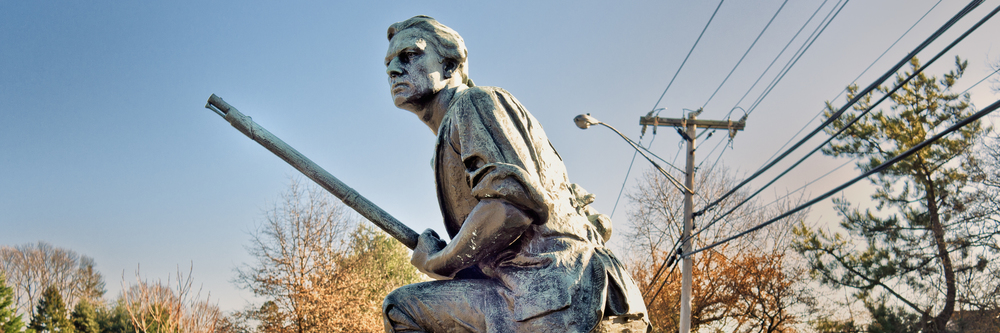 The iconic minuteman statue in Westport, Connecticut