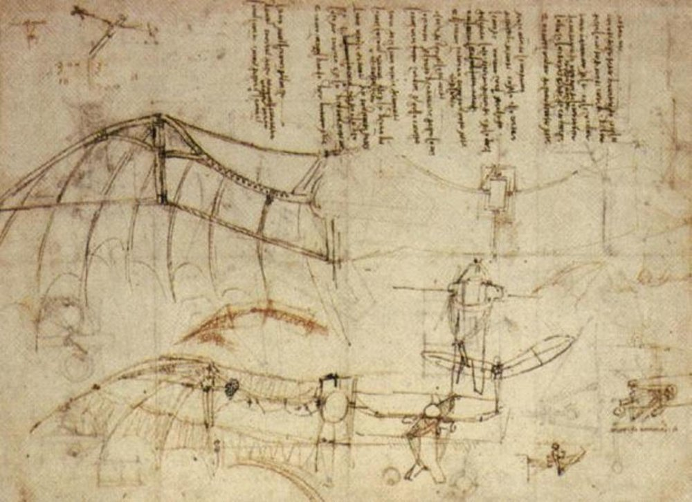 da Vinci's ornithopter, first sketch