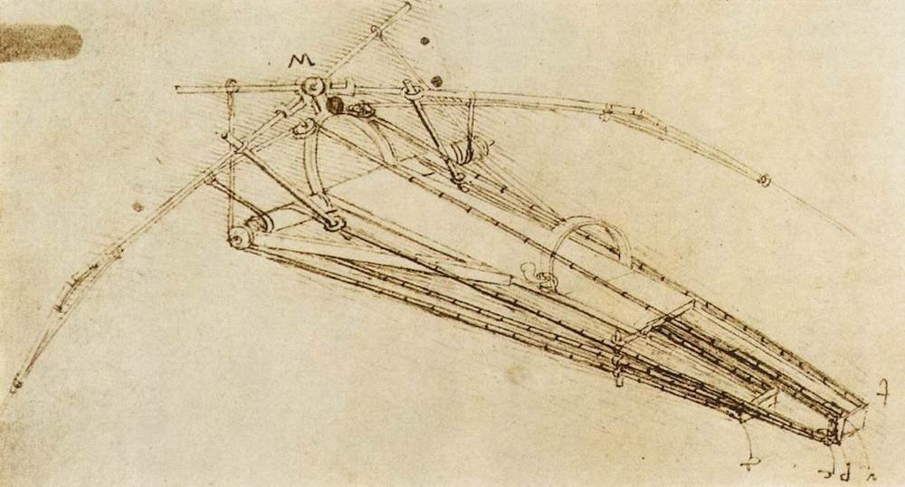 da Vinci's ornithopter, second sketch