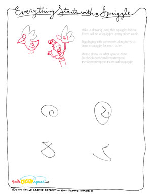 Download  this pdf and start see what you can draw with the squiggles we started. Then please share. We'd love to see what you've come up with.