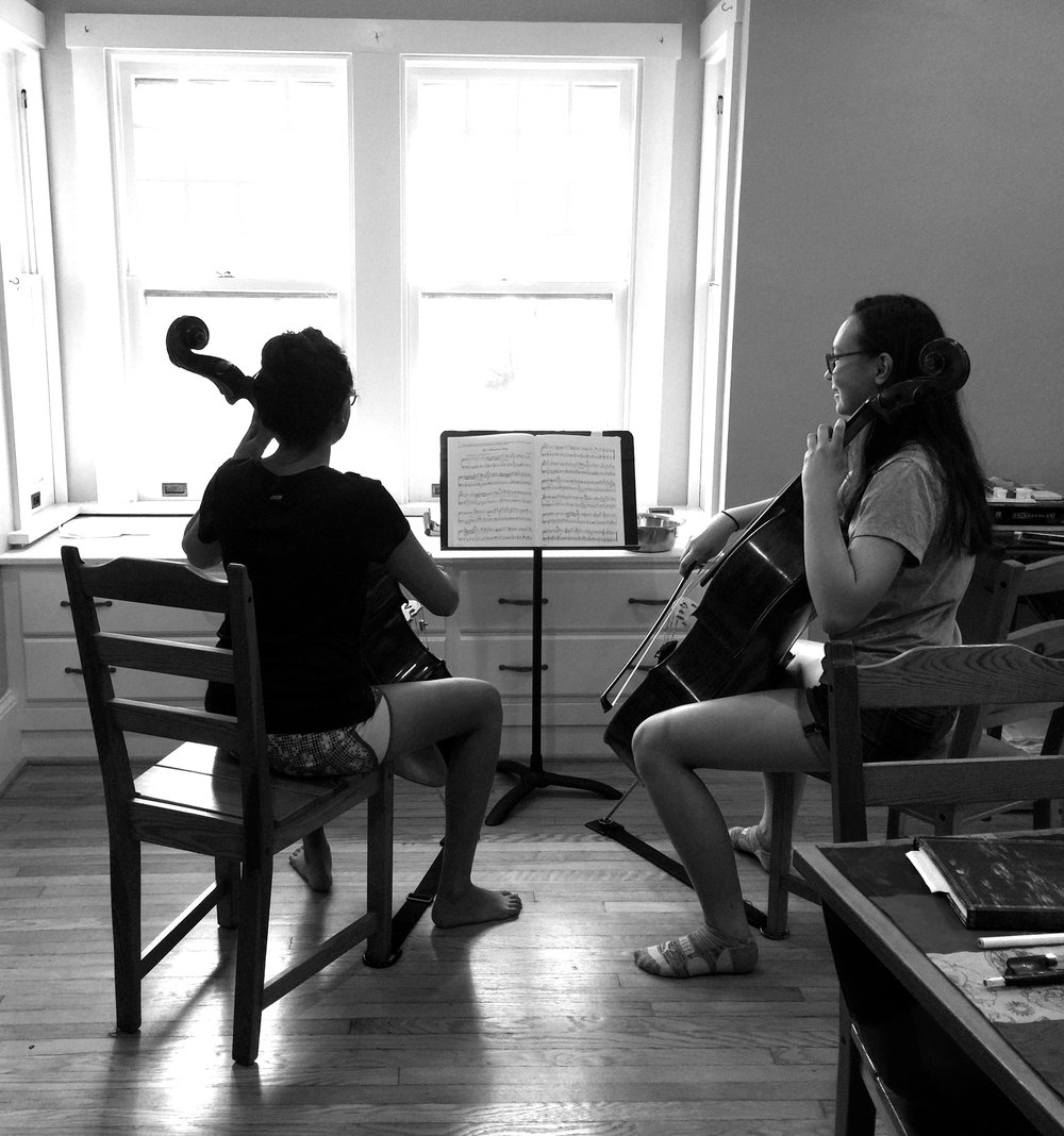 Hard at work during Cello Camp 2017.