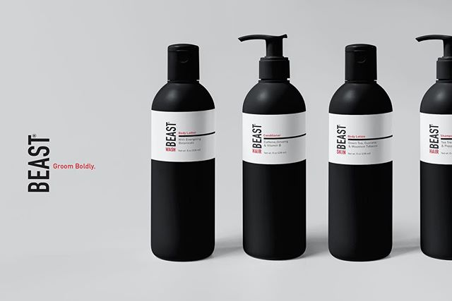 New packaging for @tame.the.beast 's new line of tingly caffeine infused  hair and body care.  #groomboldy #mens #packaging #packagingdesign #blackbottles #skincareproduct #agencylife @thedieline