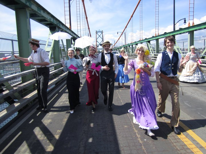 Rapunzel, Flynn and friends crossing the bridge