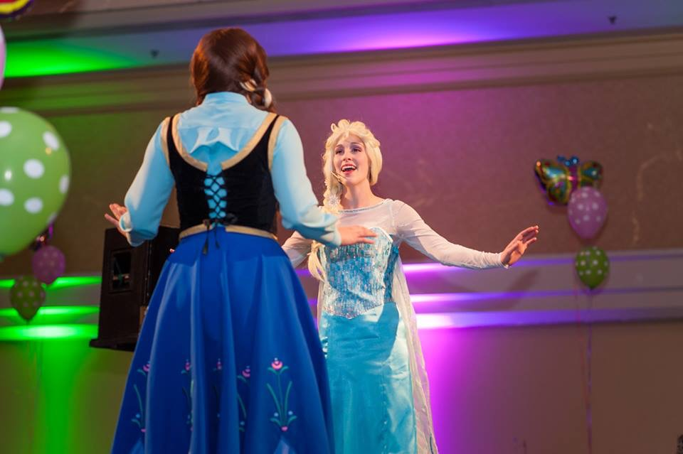 Anna and Elsa stage show - Children's Wish Tea 2015 3.jpg