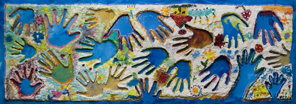 Handprints Art Project made in collaboration with local Miami artists and children undergoing cancer treatment.
