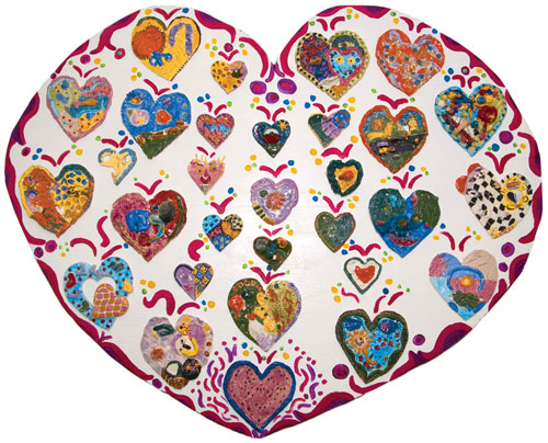 Ceramic heart art project.