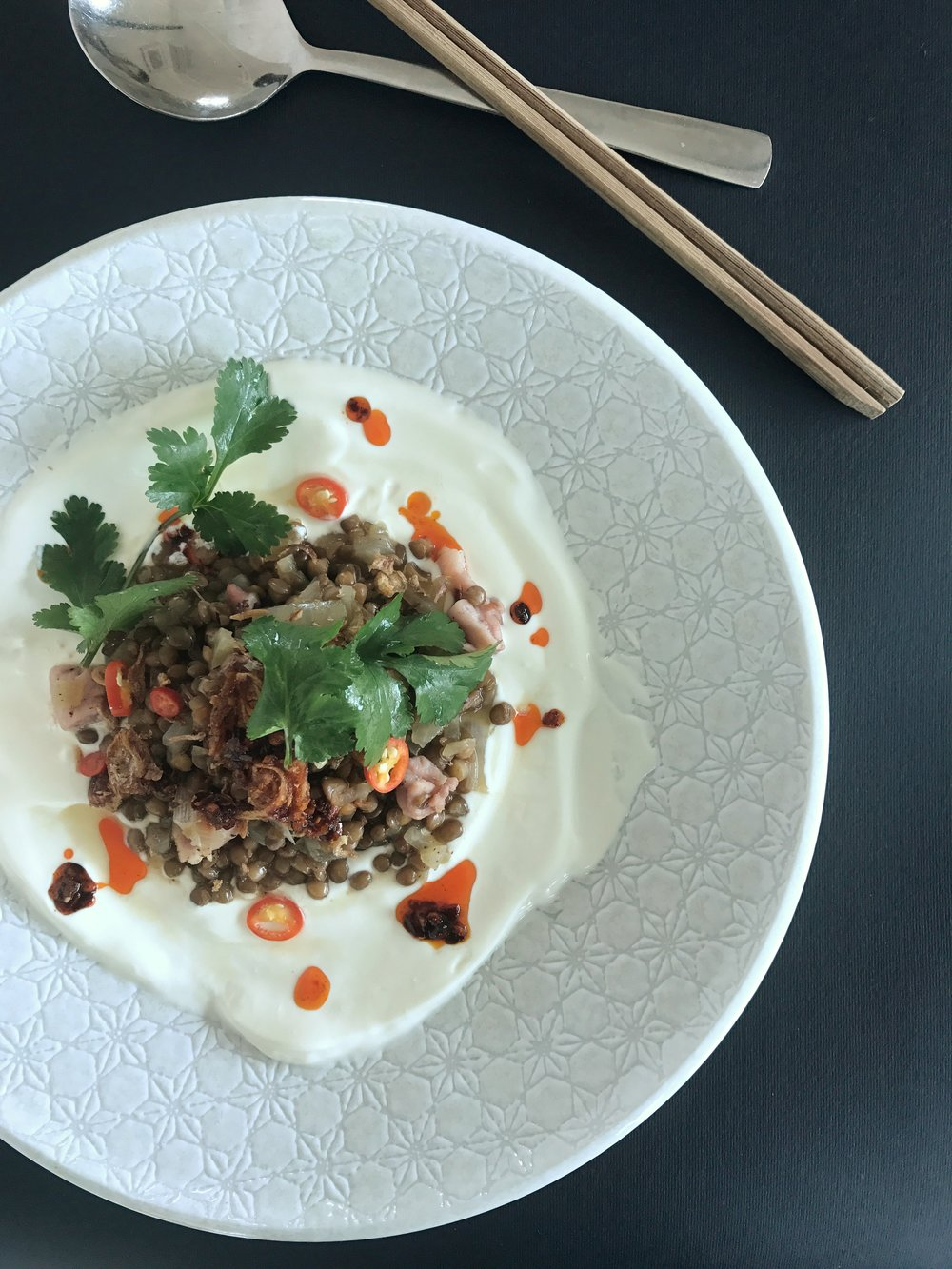 Lentils with bacon and chilli oil.jpg