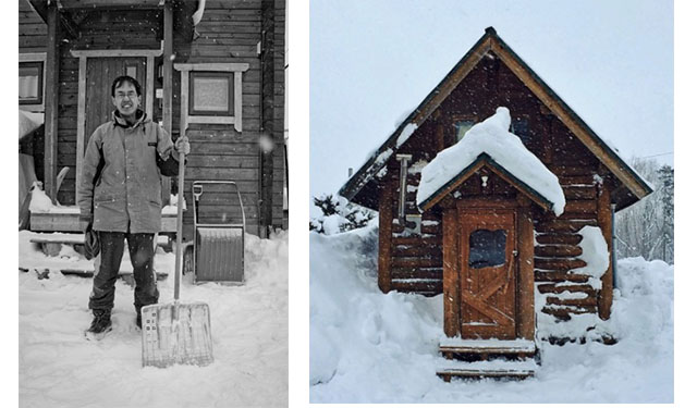 Yoshi and the cabin he built by hand. Twenty years later, and he's still in love all that snow. And his shovel. Photo at right, courtesy of Eric Dyer.