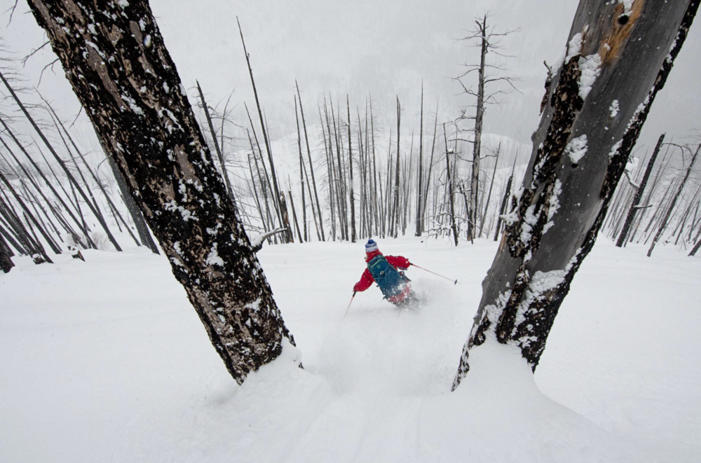 Skiing the burn with The Bird. Photo: Scott Rinckenberger.